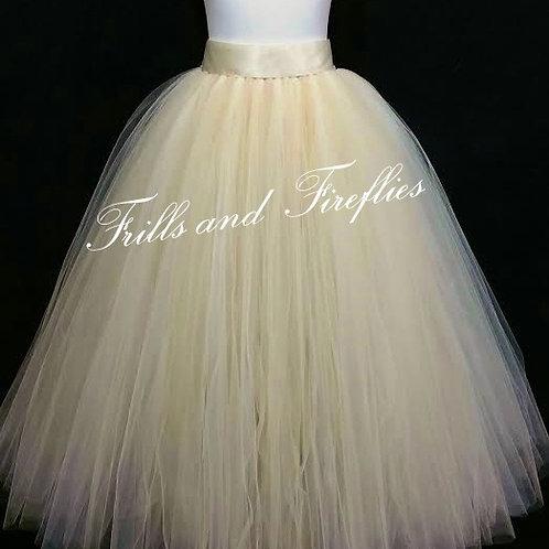 FULL LENGTH CHAMPAGNE TULLE SKIRT / Maxi Skirt / Bridal Skirt / Skirts forWo