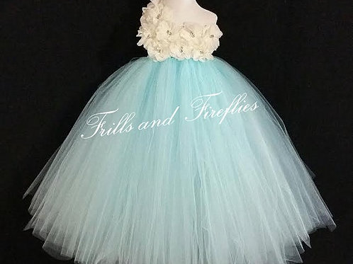 White/Ivory and Aqua One Shoulder Flower Girl Dress/Bridesmaid Dress/Prom Dress