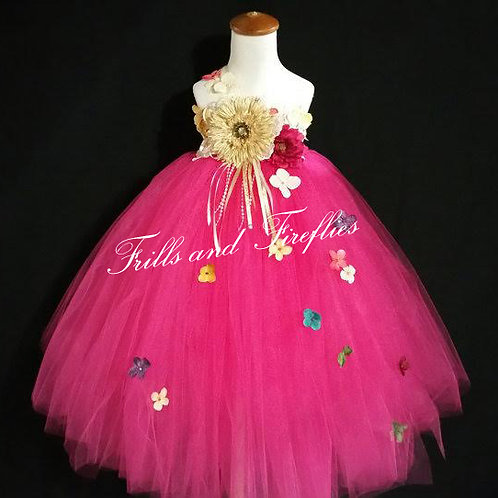 Hot Pink Garden Fairy Flower Girl Dress,  Sizes 1t up to 12