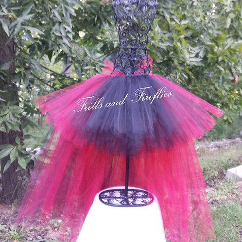 Red and Black High Low Tulle Tutu Skirt - Many Colors - Baby to Adult S