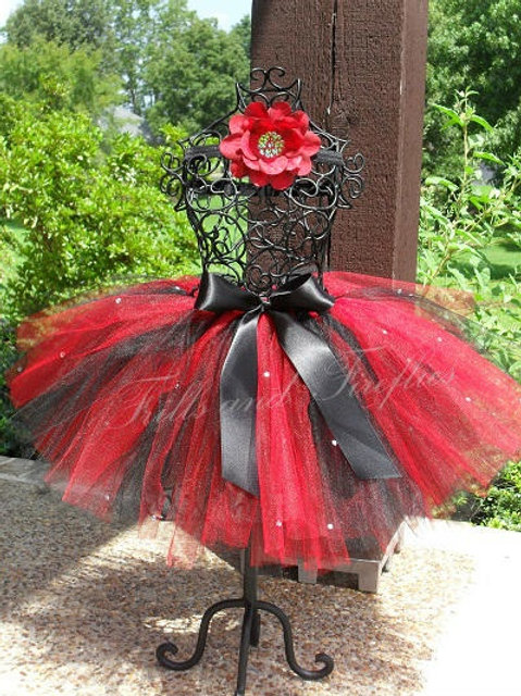 Red and Black with Rhinestone TULLE TUTU SKIRT - Many Colors -Baby to Adult Size