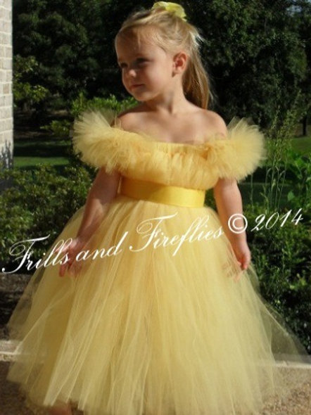 Yellow Flower Girl Dress with Pink Satin Sash..Sizes 1t up to 14