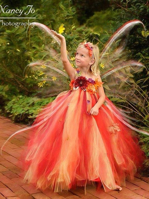 Woodland Fire Fairy Flower Girl Dress, Other Colors Available Sz 1t to 14