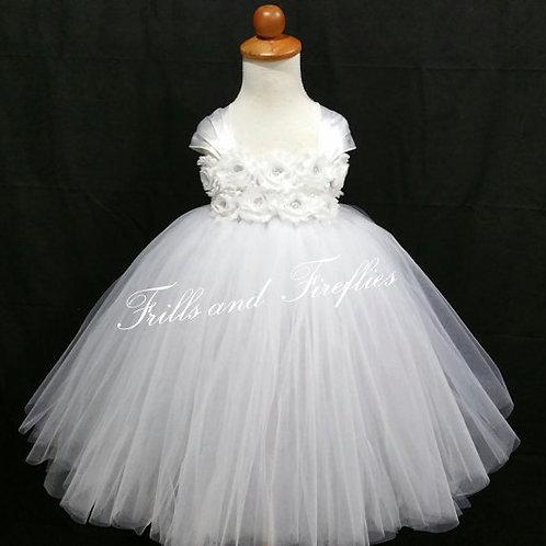 White Shabby Chic Flower Girl Dress/Prom Dress/Formal Dress/Baby up to Sz 12