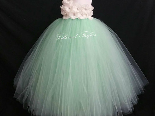 White or Ivory with Mint One Shoulder Flower Girl Dress/Bridesmaid Dress