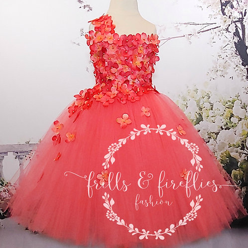 Coral One Shoulder Flower Girl Dress/Bridesmaid Dress in Sizes 1t up to 12