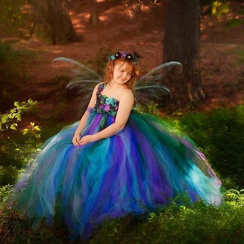 Girls Peacock One Shoulder Fairy Flower Girl Dress in Sizes 1t up to 12