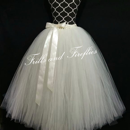 LONG IVORY TULLE TUTU SKIRT - Children to Adult Sizes