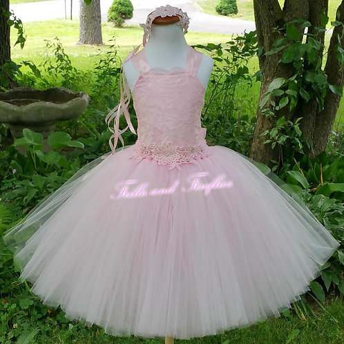 Pink Lace Corset Style Flower Girl Dress Baby Size 1t up to Child