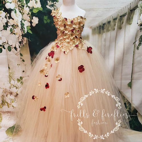 Champagne and Wine One Shoulder Flower Girl Dress/Bridesmaid Dress