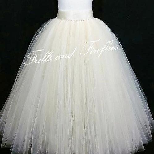 Full Length Ivory Tulle Skirt / Maxi Skirt / Bridal Skirt / Skirts forWomen