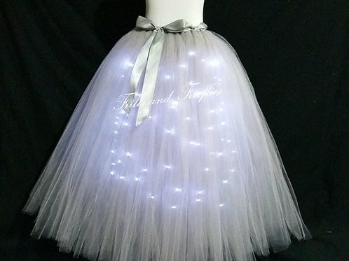 Silver Gray LED Lighted Tulle Tutu Skirt - Many Colors - Baby to Adult Sizes