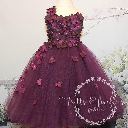 Plum One Shoulder Flower Girl Dress/Bridesmaid Dress/Prom Dress/Girl D