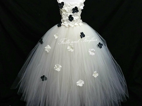White and Black Flower Girl Dress in Sizes 1t up to 12