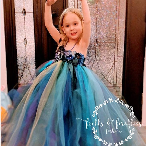 Peacock Fairy Flower Girl Dress 3/Peacock Wedding/Fairy Dress/Party Dress/Gift