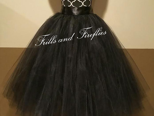 FULL LENGTH BLACK TULLE SKIRT / Maxi Skirt / Bridal Skirt / Skirts f