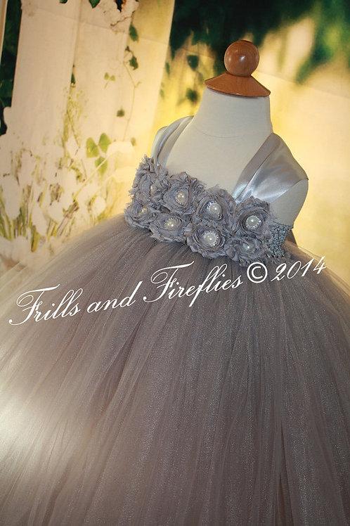 Grey/Gray Shabby Chic Flower Girl Dress/Prom Dress/Formal Dress/ Baby to Sz 12