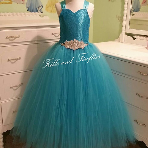 Turquoise Lace Corset Style Flower Girl Dress Baby Size 1t up to Girls Size 12