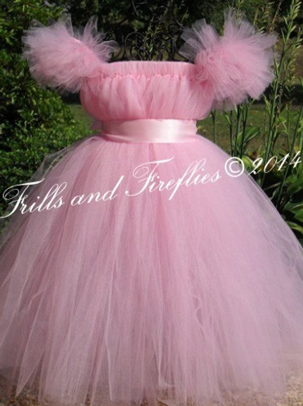 Pink Flower Girl Dress with Pink Satin Sash..Sizes 1t up to 14