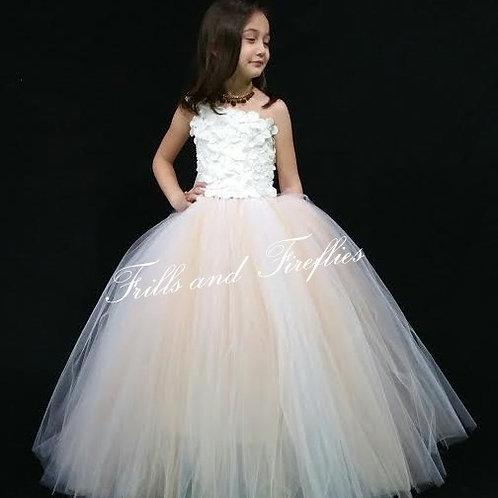 White/Peach Flower Girl Dress / One Shoulder Flower Girl Dress/Wedding