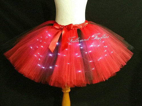 Red and Black LED Lighted Tulle Tutu Skirt - Many Colors - Baby to Adul
