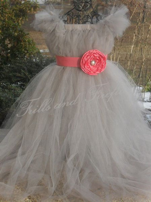 Gray/grey Flower Girl Dress with Coral Satin Flower Sash..Sizes 2t up