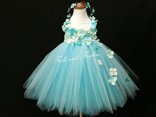 Aqua/Turquoise Whimsy Fairy Flower Girl Dress Sizes 1t up to 10