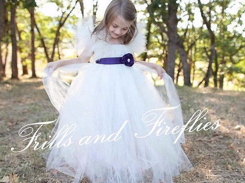 Ivory Flower Girl Dress with Purple Satin Flower Sash..Sizes 2t up 16