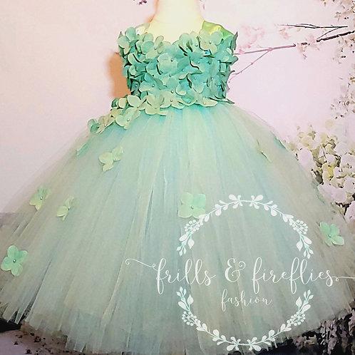 Aqua Mint Satin Shoulder Flower Girl Dress/Bridesmaid Dress/Prom Dress/Girl