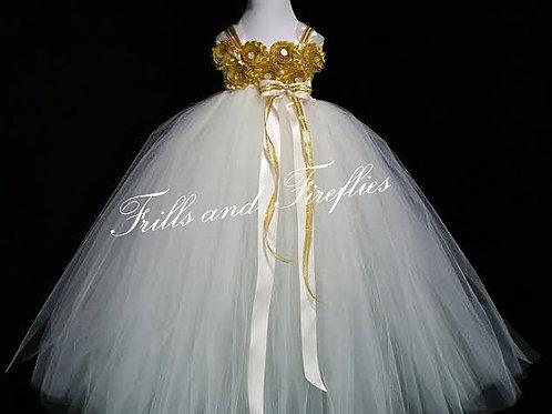 White or Ivory Shabby Chic Flower Girl Dress/Prom Dress/Formal Dress