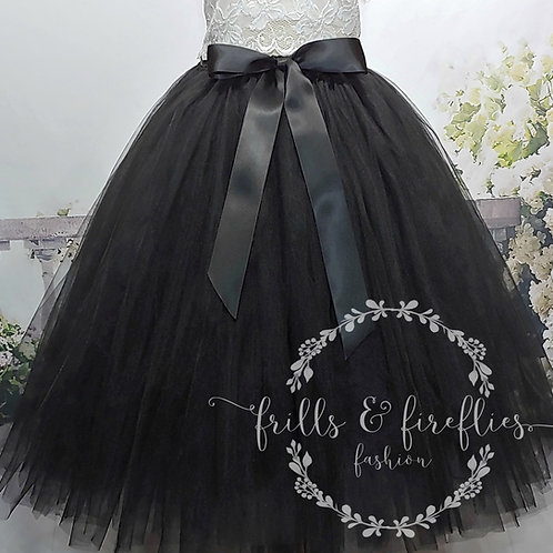 LONG BLACK TULLE TUTU SKIRT - Children to Adult Sizes