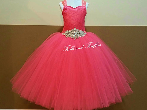 Coral Lace Corset Style Flower Girl Dress Baby Size 1t up to Girls S