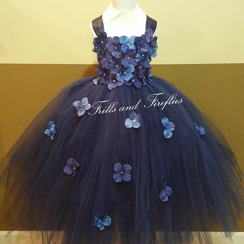 Navy Blue/Light Blue Flower Girl Dress/Flower Girl Dresses/Bridesmaid Dress