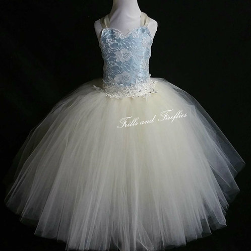 Ivory and Light Blue Corset Style Flower Girl Dress Baby Size 1t up to Child