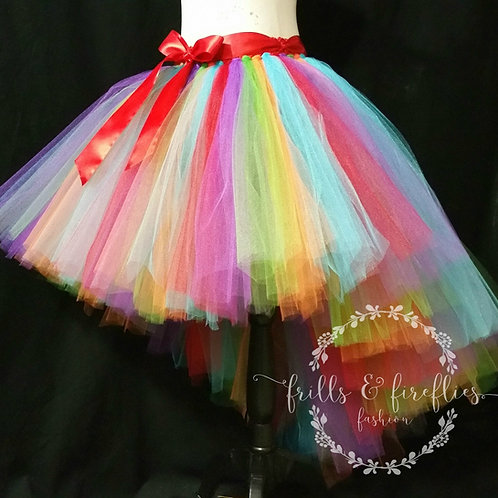 Rainbow High Low Tulle Tutu Skirt - Many Colors - Baby to Adult Sizes