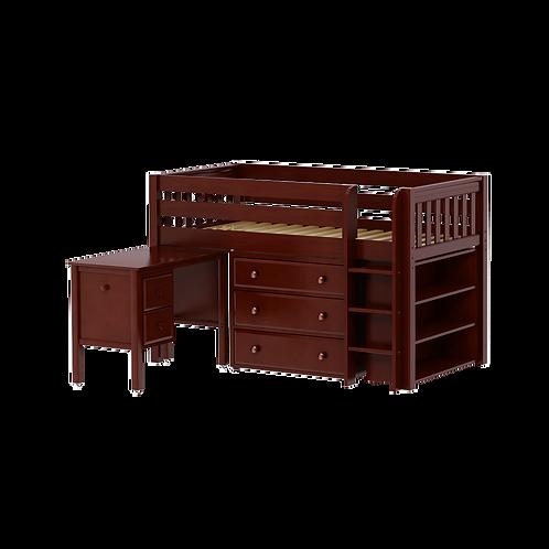 Maxtrix Low Loft Bed with straight Ladder, student desk, 3 Drawer dresser & low
