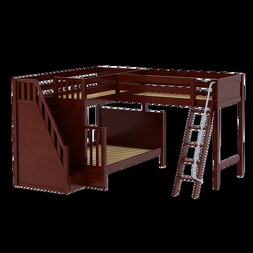 Maxtrix Corner Twin/Full Bunk Loft w/ Ladder & Stairs