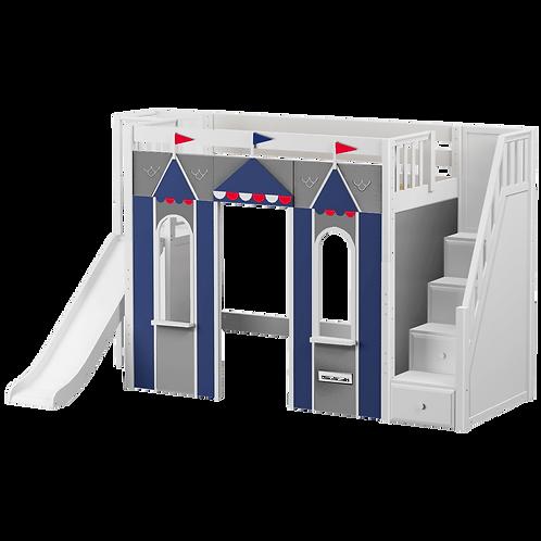 Maxtrix Playhouse High Loft with staircase, platform ladder & slide