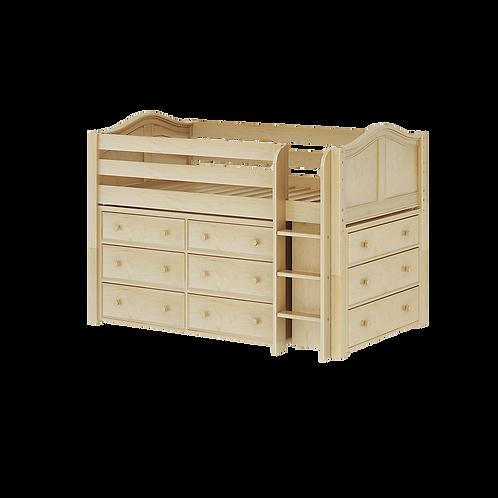 Maxtrix Low Loft with Straight Ladder, 6 Drawer & 3 Drawer Dresser