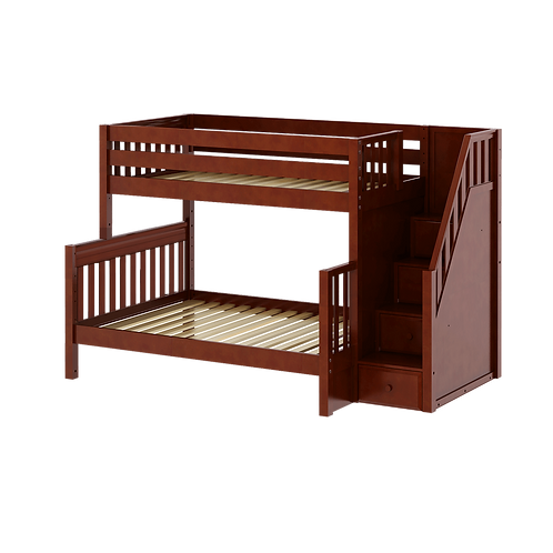 Maxtrix Medium Twin over Full Bunk with stairs