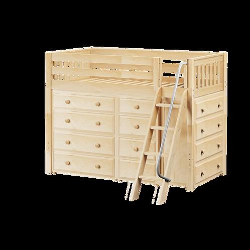 Maxtrix Mid Loft with angle ladder, 2*4 Drawer & Narrow 4 Drawer
