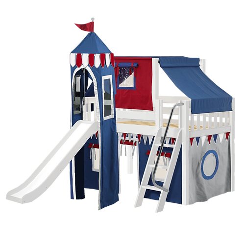 Maxtrix Twin Low Loft Bed with Angled Ladder, Curtain, Top Tent, Tower + Slide