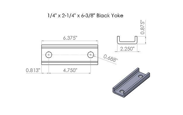 1-4 x 2-1-4 - 6-3-8 black tie bar drawin