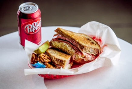 Mason Dixon MD Reuben with Dr. Pepper, Vlasic Pickles, and pretzels