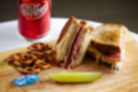 Mason Dixon MD Reuben Sandwich with Dr Pepper, pickle and Pretzels
