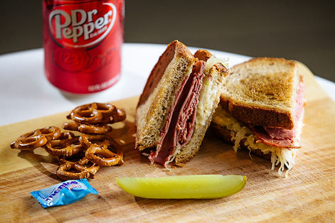 Mason Dixon MD Reuben Sandwich with Dr Pepper, pickle and Pretzels