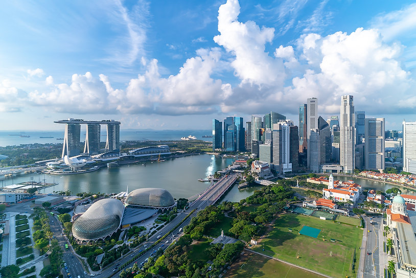 Aerial view of Cloudy sky at Marina Bay