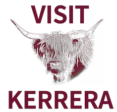 Visit Kerrera logo featuring local cow, Esme