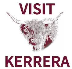 Visit Kerrera logo featuring local cow, Esme