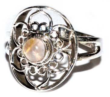 lotus rose quartz adjustable ring